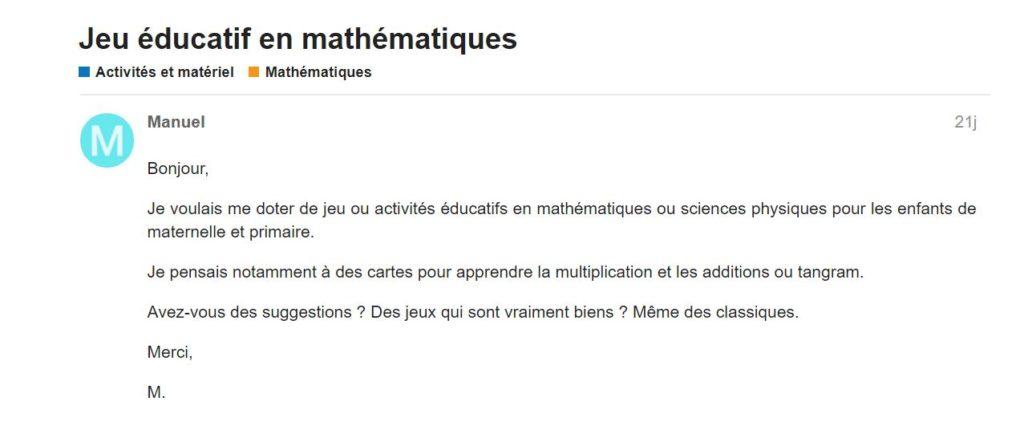 """"""" Je voulais me doter de jeu ou activités éducatifs en mathématiques ..."""